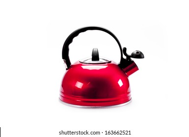 Red  tea kettle isolated on white background