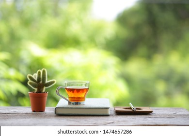 Red tea with small cactus plant in brown pot with diary notebooks on wooden table with gree nature background
