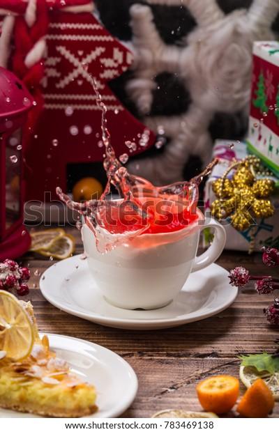 red tea splash still-life new year