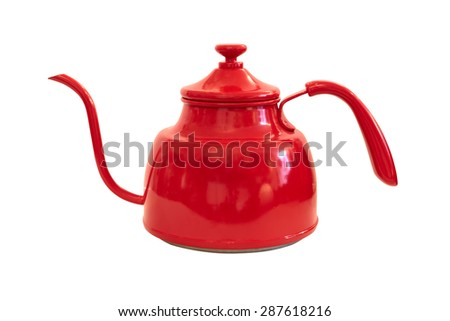 red teapot isolated on white background with clipping path