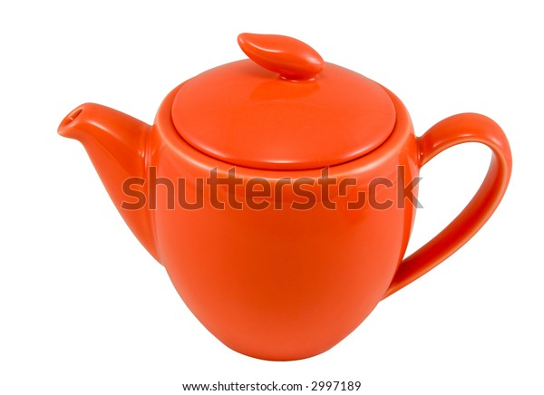 Red teapot, isolated on white, clipping path included