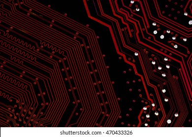 red tech background with signal paths on pcb board, integrated circuit, top view, flat lay