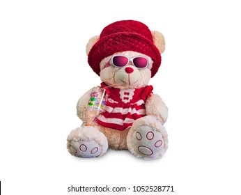 2db495a4289 Red Teddy Bear in a mischievous mood - isolated on white background.