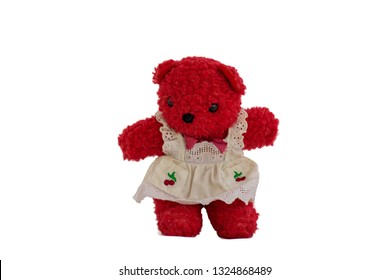 Red teddy bear on a white background