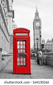 Red Telephone Booth and Big Ben in London street