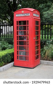 Red telephone booth in London, England on July 24, 2016