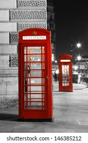 Red Telephone Booth at night. Red phone booth is one of the most famous London icons.