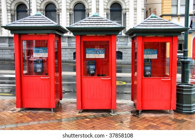 Red telephone booths in Dunedin, New Zealand