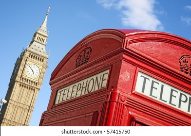 Red Telephone box and Big Ben, London.