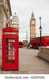 Red telephone box, double decker bus and Big Ben. London, UK