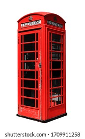 Red telephone box in London isolated on white background