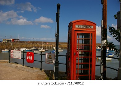 Red Telephone Box At Minehead Harbour, Somerset UK
