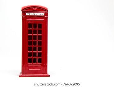 Red telephone box on white background, London, Isolated, phone box.