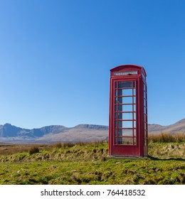 Red telephone box at a remote location on the Isle of Skye