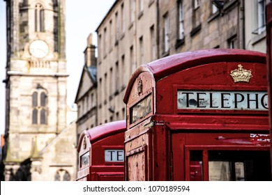 Red telephone boxes on Royal Mile, Edinburgh, Scotland