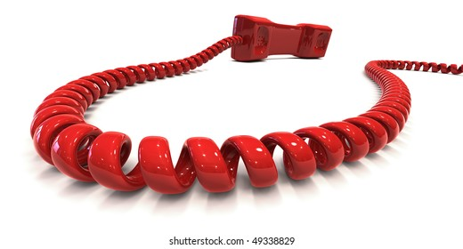 Red telephone receiver with coiled cord isolated over white, symbolizing hot-line. Clipping path included to easily change color of phone and/or background.
