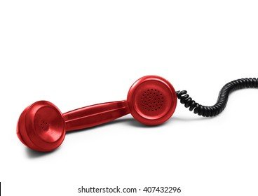 Red telephone receiver (isolated) with shadow