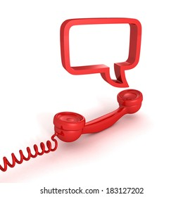 red telephone receiver and speech bubble on white background