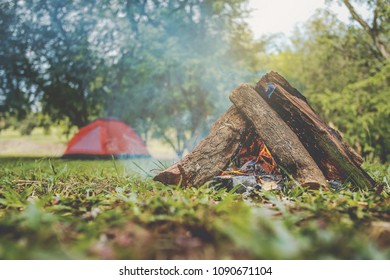 red tent with campfire in the spring forest