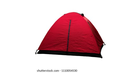 Red tent isolated on white background.