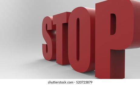 Red Text 3D Illustration Of The Word Stop On A Masked Transparent Background