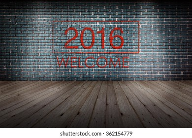 Red text welcome 2016  on old brick wall  background,new year
