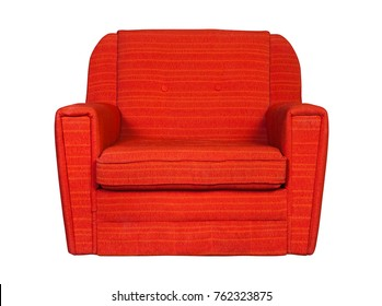 Red textile chair isolated on white background