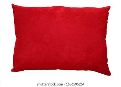 almohada roja textil con fondo blanco