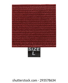 red textile label on white background, size