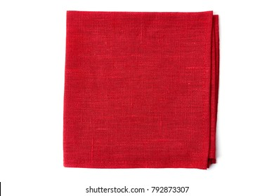 Red textile napkin on white
