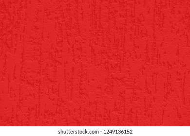 Red texture of plastered wall. Abstract bright color background. Good wall wallpaper.