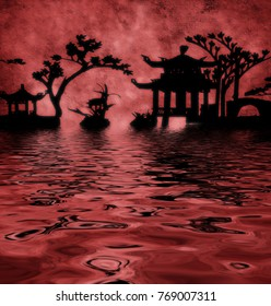Red textured Asia landscape silhouettes. 3D rendering.