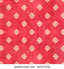 Red Thai carpet with pattern background and texture.