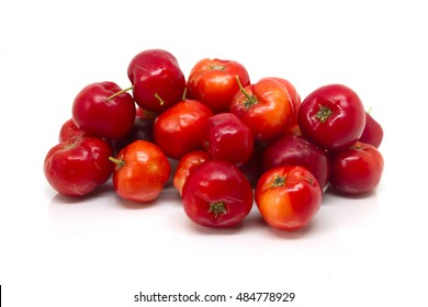 The Red Thai Cherry iso lated with blurred and selective focus on white background