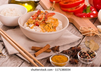 Red thai curry with spices.