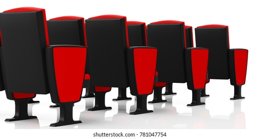 Red theater chairs on white background, view from behind. 3d illustration