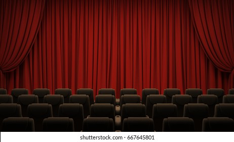 Red theater curtain with chairs.3D rendering image