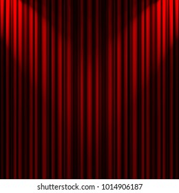 red theater curtain with crossed beams of soft light