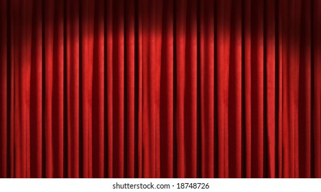 Red theater curtain with dark shadows