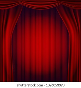Red Theater Curtain. Opera Cinema Scene. Realistic Illustration