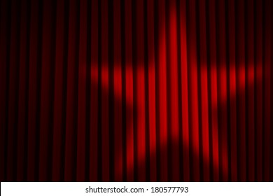 Red Theater Stage Curtains with Star Spotlight.