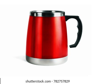 Red Thermo Mug on White Background