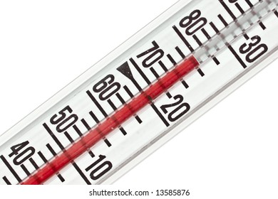 a red thermometer isolated on pure white background.