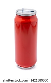 Red thermos bottle or Stainless steel thermos travel tumbler, Insulated drink container for coffee, tea, water flask reusable bottle container, isolated on white background.