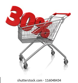 Red  thirty percent placed in shop cart  isolated on a white background