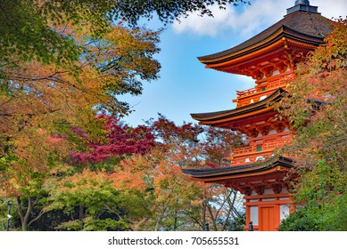 Red Three Storey Pagoda with Colourful Maple Trees at Kiyomizudera Temple