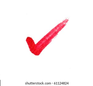 Red tick sign on white.
