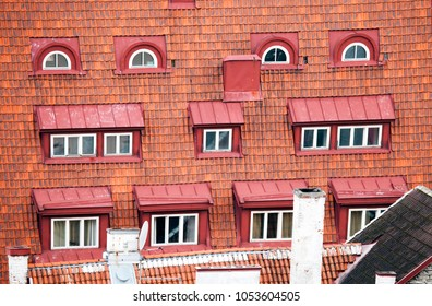 Red tile roof of the medieval building. Tallinn.