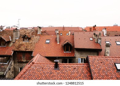Red tile roofs, european cityscape
