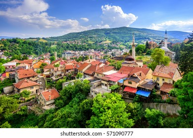 Red tile roofs and old mosques in historical town Travnik, Bosnia and Herzegovina